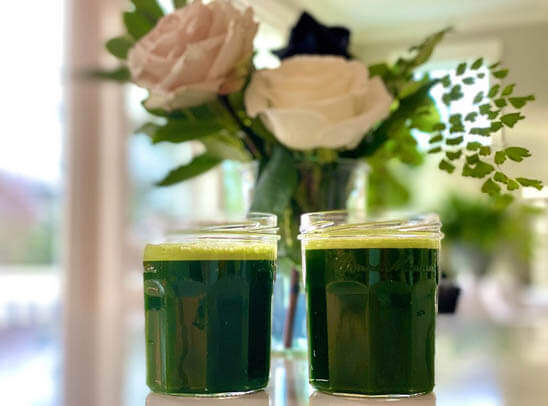 Green juices and flowers