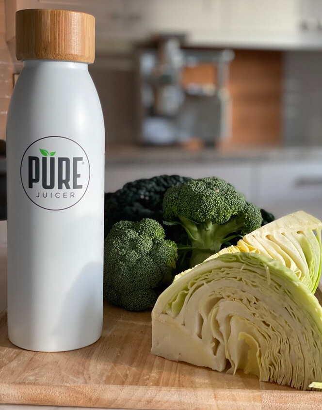 PURE water bottle, cabbage & broccoli