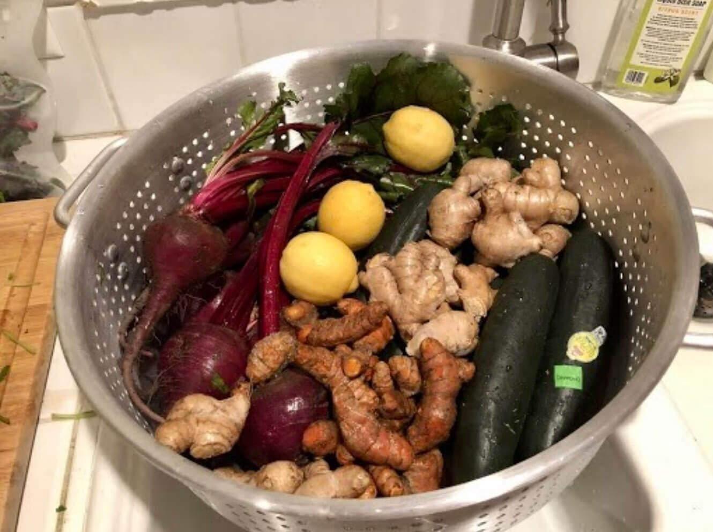 Veggies in strainer