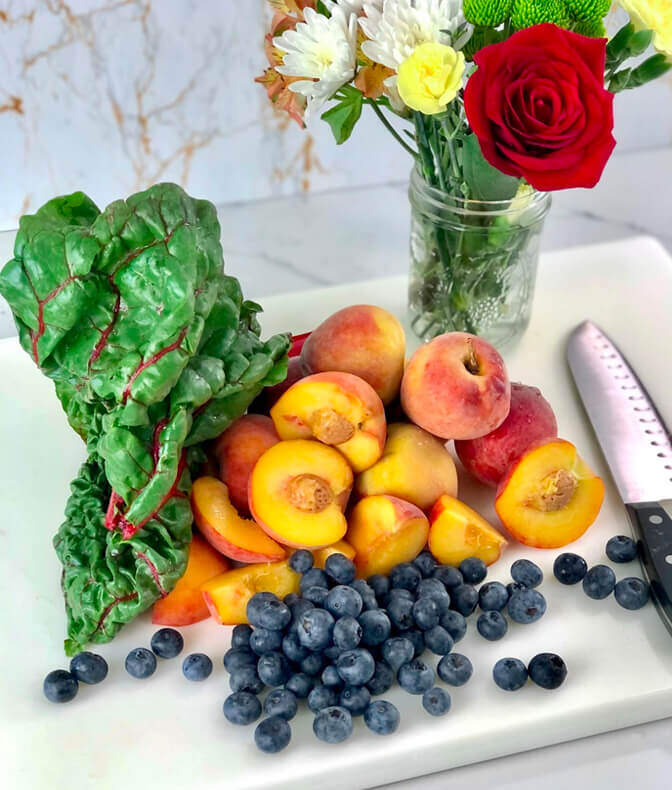 fruit and kale