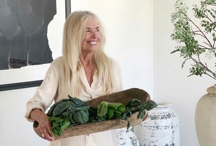 Mimi holding greens