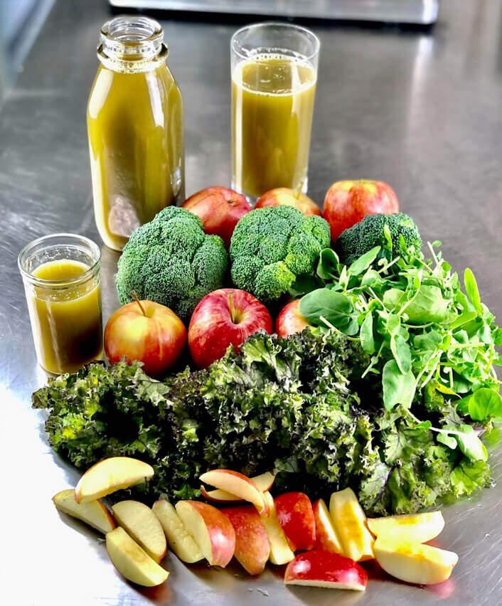 veggies, fruit, and juice