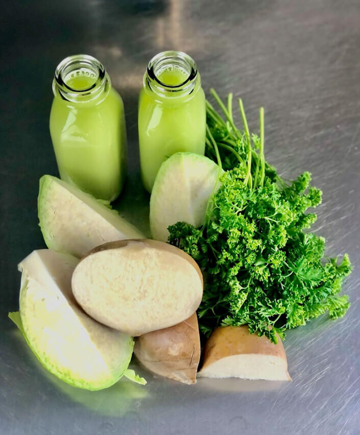 parsnips, cabbage, and parsley