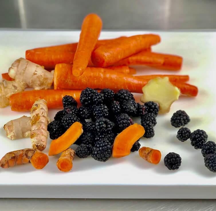 ginger, carrots, and blackberries