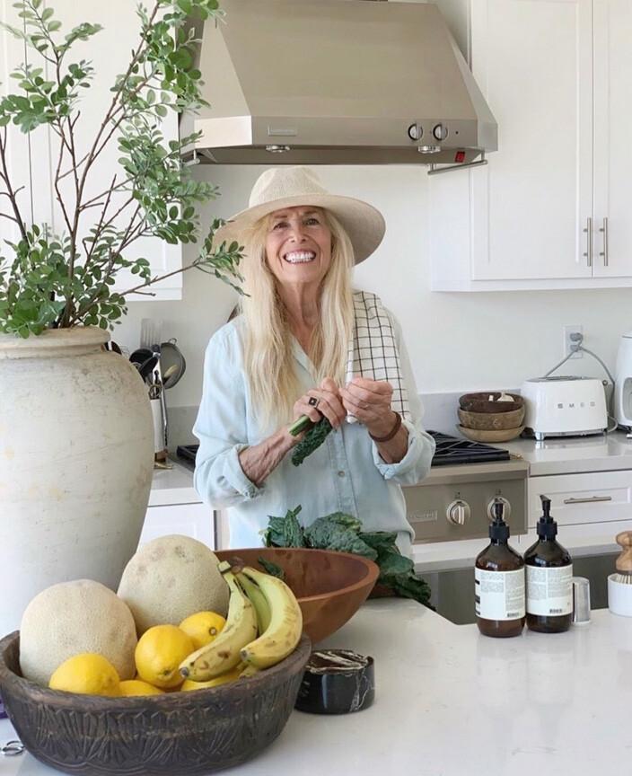 Mimi working in kitchen