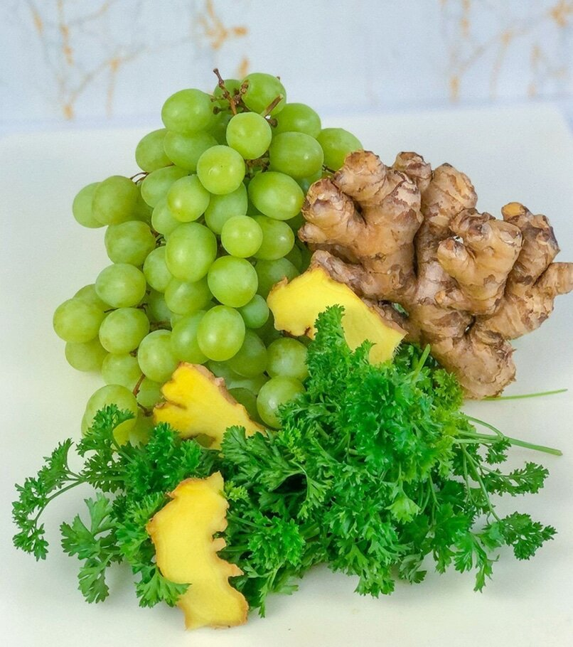 grapes, ginger, and parsley